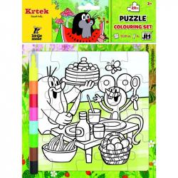 puzzle k vymaľovanie Krtko