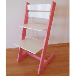 Dětská rostoucí židle JITRO KLASIK růžovo bílá