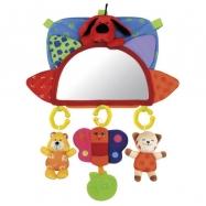 Baby návlek na opěrku se zrcátkem a závěsnými hračkami