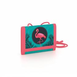 Detská textilná peňaženka Plameniak