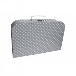 Kufřík šedý s bílými hvězdičkami 35 cm