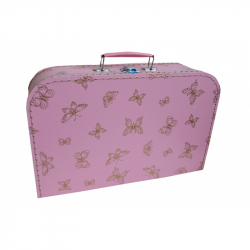 Kufřík růžový se zlatými motýlky 35 cm