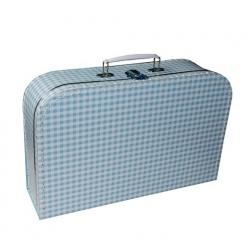 Kufr dětský 35cm modrý bílé káro