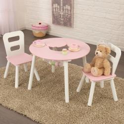Set - Stůl a 2 židle růžovobílý