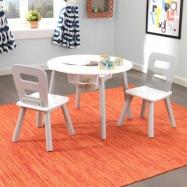 Set - Stůl a 2 židle bílo šedý