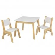 KidKraft Moderný set stôl a 2 stoličky biele