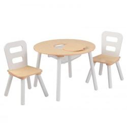 KidKraft Dřevěný set stůl s 2 židle - přírodní a bílá