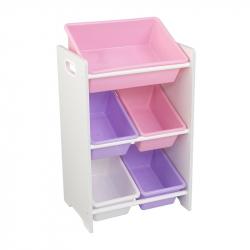 KidKraft boxy na zabawki - Półka z organizerami, różowa