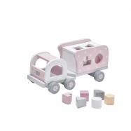 Náklaďák s kostkami dřevěný Pink