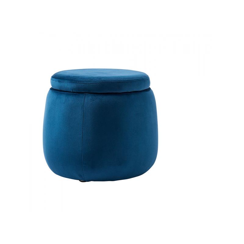 Úložný taburet guľatý Velvet Blue