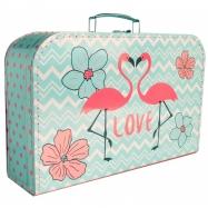 Kufrík Plameniaky ružovo / modrý 35 cm