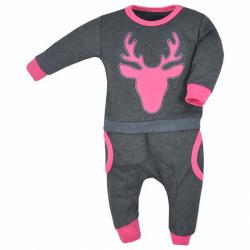 Dojčenské tepláčky a mikinka Koala Deer šedo-ružové