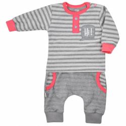 Dojčenské tepláčky a tričko Koala Hi! šedo-ružové