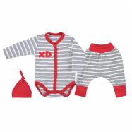 3-dielna bavlnená kojenecká súprava Koala XD červená