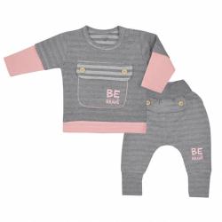 Dojčenské bavlnené tepláčky a tričko Koala BE BRAVE šedo-ružové