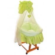 Kosz wiklinowy zestaw - Miś w łóżeczku - zielony