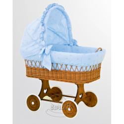 Proutěný košík s boudičkou Macko modrá