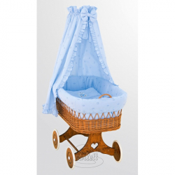 Kosz wiklinowy z baldachimem - Miś - niebieski