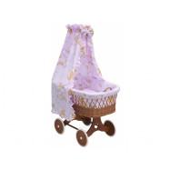 Proutěný košík s nebesy Mráček růžový