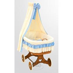 Kosz wiklinowy, zestaw z baldachimem - Marcin - niebieski