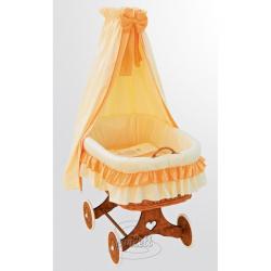 Kosz wiklinowy, zestaw z baldachimem - Marcin - pomarańczowy