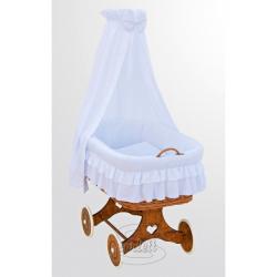 Kosz wiklinowy, zestaw z baldachimem - Marcin - biały