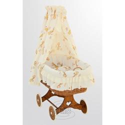 Kosz wiklinowy, zestaw z baldachimem - Żyrafa - żółty