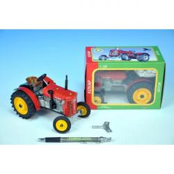 Traktor Zetor 25A červený na klíček kov 15cm 1:25