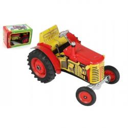 Traktor Zetor červený na klíček kov 14cm 1:25 v krabičce Kovap