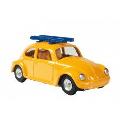 Auto VW brouk s lyžemi kov 11cm žluté v krabičce Kovap