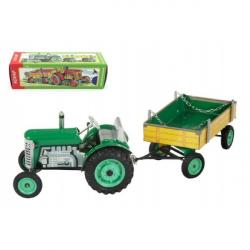 Traktor Zetor s valníkem zelený na klíček kov 28 cm