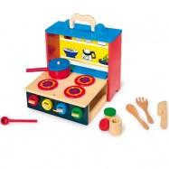 Dětská kuchyňka dřevěná mobilní 7575
