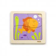 Dřevěné puzzle 4 dílky - ryba