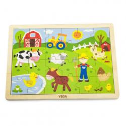 Puzzle drewniane 24 sztuki - farma