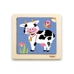 Drevené puzzle 4 dieliky - krava