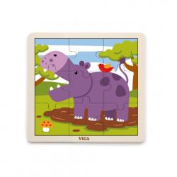 Drewniane puzzle - hipopotam
