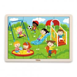 Puzzle drewniane 16 sztuk - plac zabaw