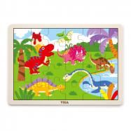 Dřevěné puzzle 16 dílků - dinosauři