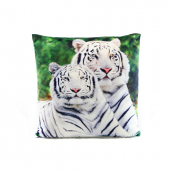 Vankúšik 33 x 33 cm biely tiger