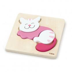 Drewniane puzzle dla najmłodszych - kot