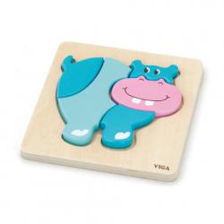 Drewniane puzzle dla najmłodszych - hipopotam