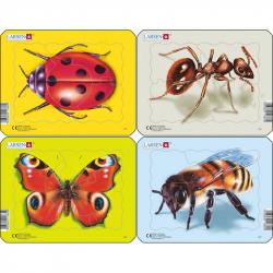 Puzzle beruška, motýl, mravenec, včela 5 dílků