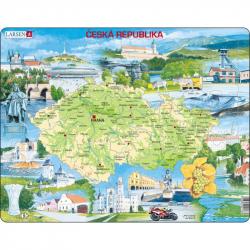 Puzzle Mapa Česko atraktivní místa 77 dílků