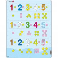 Puzzle Čísla 1-5 s grafickými znaky 15 dílků