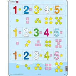 Puzzle Čísla 1-5 s grafickými znakmi 15 dielikov