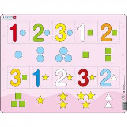 Puzzle Čísla 1-3 s grafickými znaky 10 dílků
