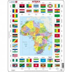 Puzzle Mapa Afriky + vlajky 70 dílků