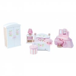 Drewniane mebelki do domku dla lalek - sypialnia, Le Toy Van