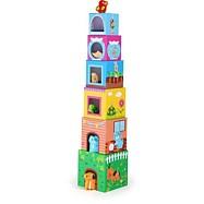 Dřevěná hračka - Věž z kostek se zvířátky