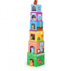 Drevená hračka - Veža z kociek so zvieratkami